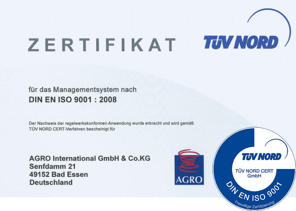 AGRO Zertifikat TÜV Nord